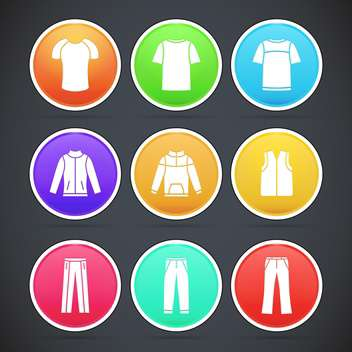 Vector set with colorful clothes icons - vector gratuit #128266