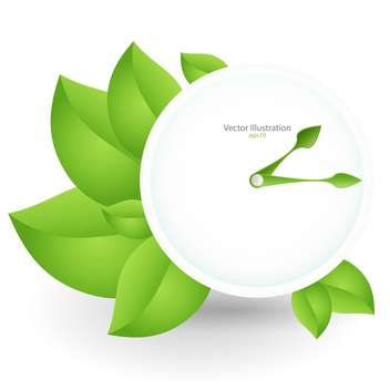 Vector green clock and green leaves isolated on white background - Free vector #128286