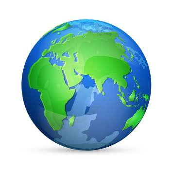 blue and green earth vector icon, isolated on white background - vector #128376 gratis