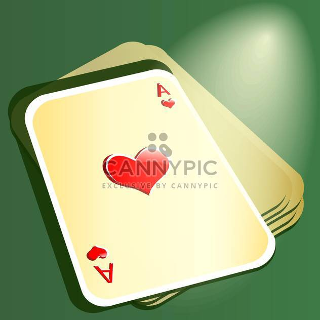 Red ace on stack with cards for poker - Kostenloses vector #128396