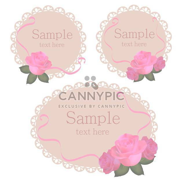 Vector floral lace frames with pink roses - Free vector #128456