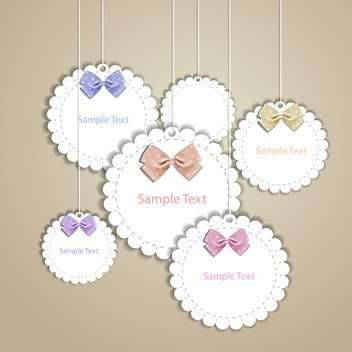 Set of vintage vector frames with lace and bow - vector gratuit #128536