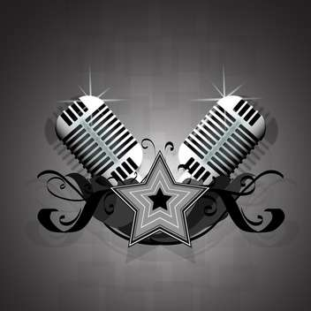 Vector illustration with retro microphones - vector gratuit #128596