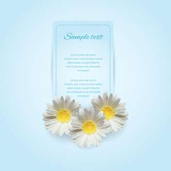 Invitation card on the blue background with camomile - vector gratuit #128616