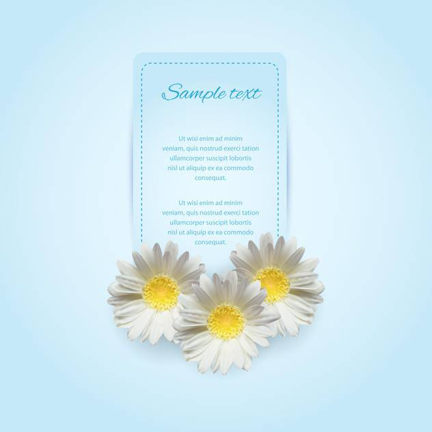 Invitation card on the blue background with camomile - vector #128616 gratis