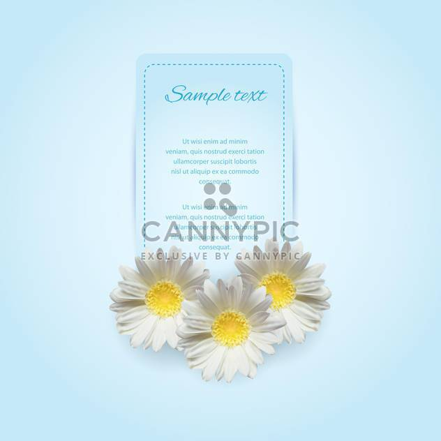 Invitation card on the blue background with camomile - Free vector #128616