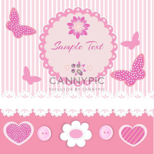 Vector pink frame with lace and butterflies - Free vector #128626