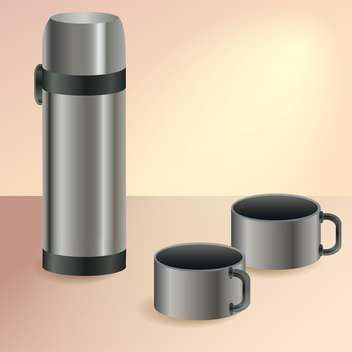 Vector illustration of thermos and two cups - бесплатный vector #128656