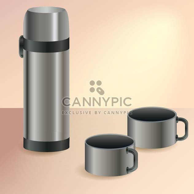 Vector illustration of thermos and two cups - Free vector #128656