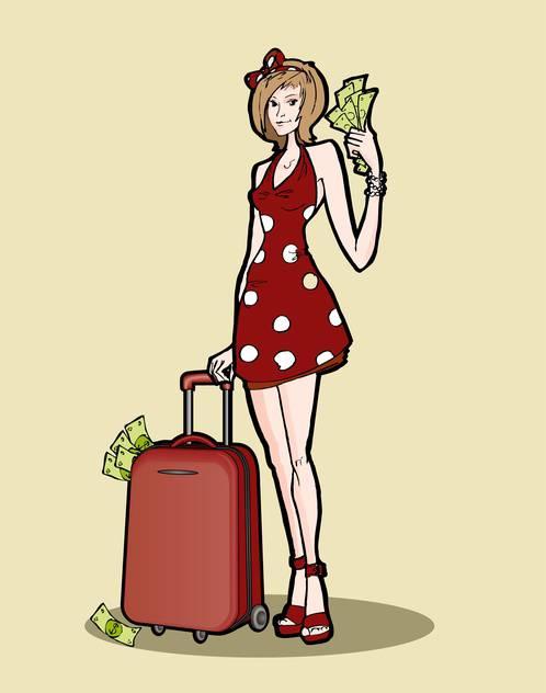 Vector illustration of woman with a luggage bag full of money. - Kostenloses vector #128666