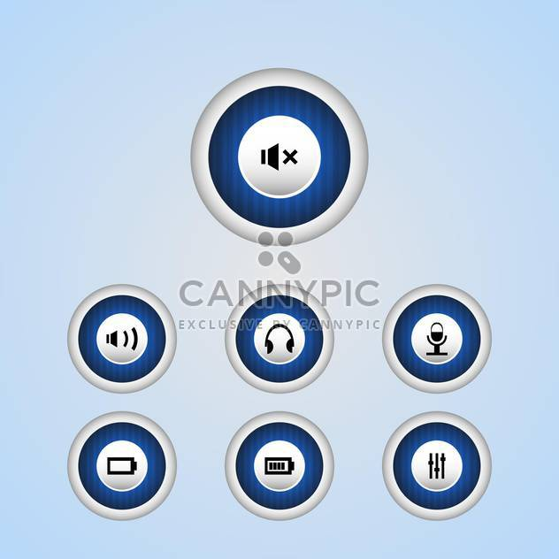 Vector set of media player buttons - Free vector #128686