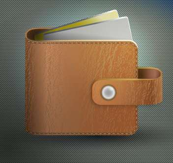 Vector illustration of leather wallet on grey background - бесплатный vector #128716