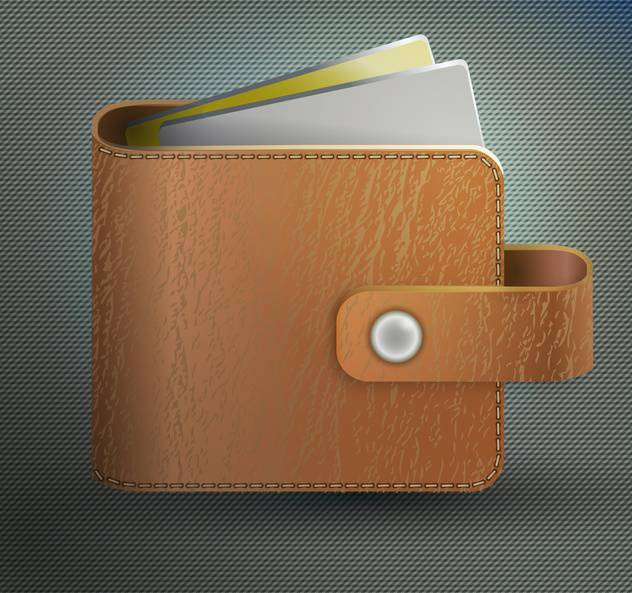 Vector illustration of leather wallet on grey background - vector #128716 gratis