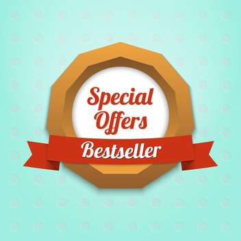 Vector label of special offers and bestseller on blue background - vector #128806 gratis