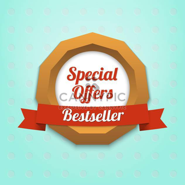 Vector label of special offers and bestseller on blue background - Free vector #128806