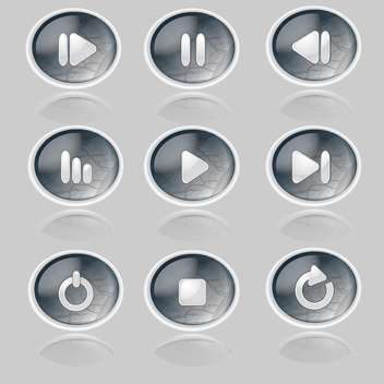 Vector set of media player buttons - Free vector #128816