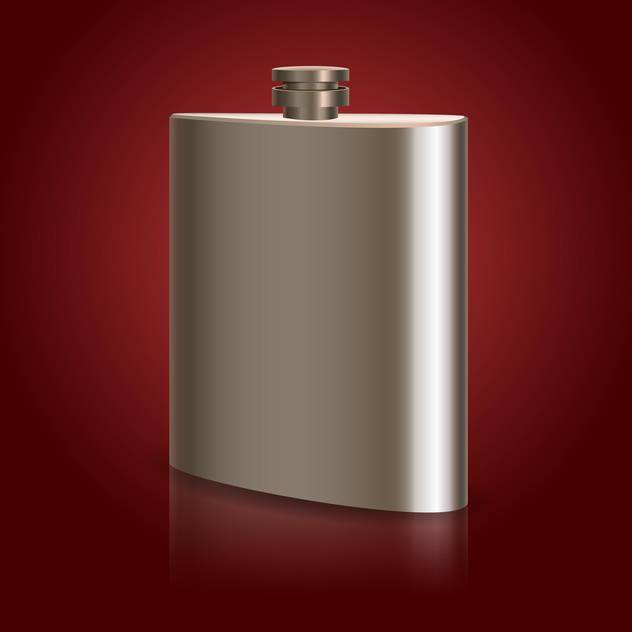 Vector Illustration of stainless hip flask on red background - Free vector #128896