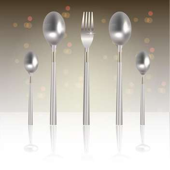 vector illustration of silver fork and spoons - бесплатный vector #129086