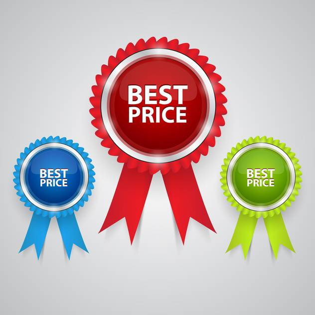 best price labels with ribbons - Free vector #129106