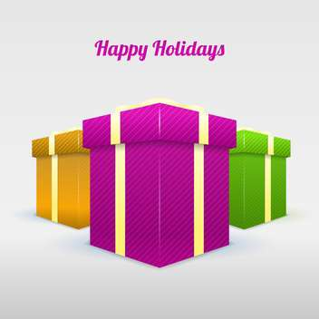 set of happy holidays present boxes - vector gratuit #129126