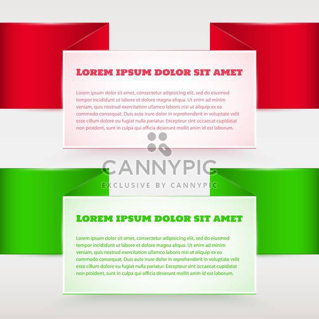Vector set of red and green banners - Free vector #129296