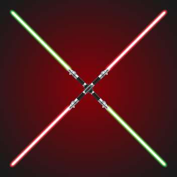 Vector illustration of red and green crossed lightsabers - vector gratuit #129416