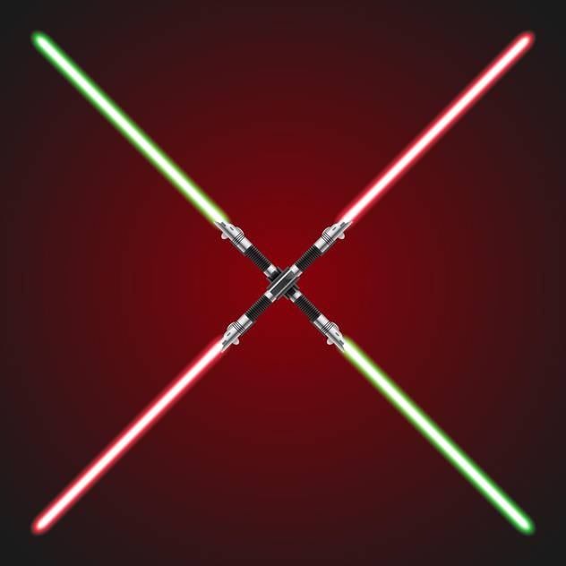 Vector illustration of red and green crossed lightsabers - Free vector #129416