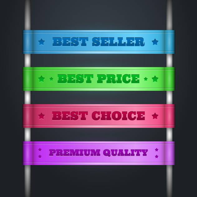 Vector set of colorful Best Price ribbons on black background - vector gratuit #129446