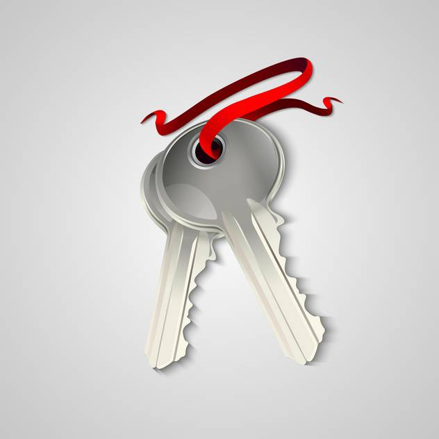 Vector illustration of sheaf of two silver keys with red ribbon - бесплатный vector #129506