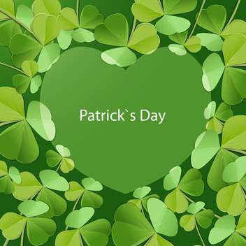 Vector St Patricks Day greeting card with heart and clover leaves - vector #129526 gratis