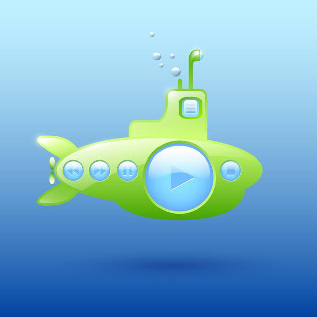 Vector illustration of green submarine media player on blue background - vector #129566 gratis