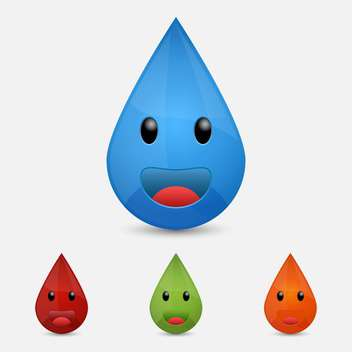 Vector set of colorful drops characters - vector gratuit #129596