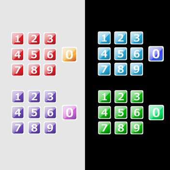 Vector set of colorful numbers buttons - vector gratuit #129606