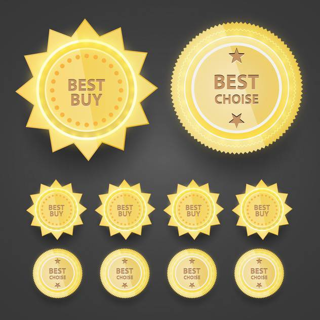 Vector set of premium quality badges on black background - vector #129636 gratis