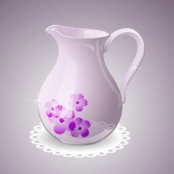 Vector illustration of pitcher decorated with flowers - vector gratuit #129646