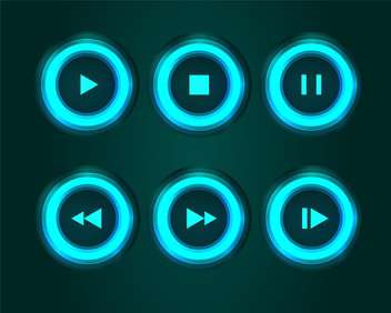 Vector set of media buttons on black background - vector #129686 gratis