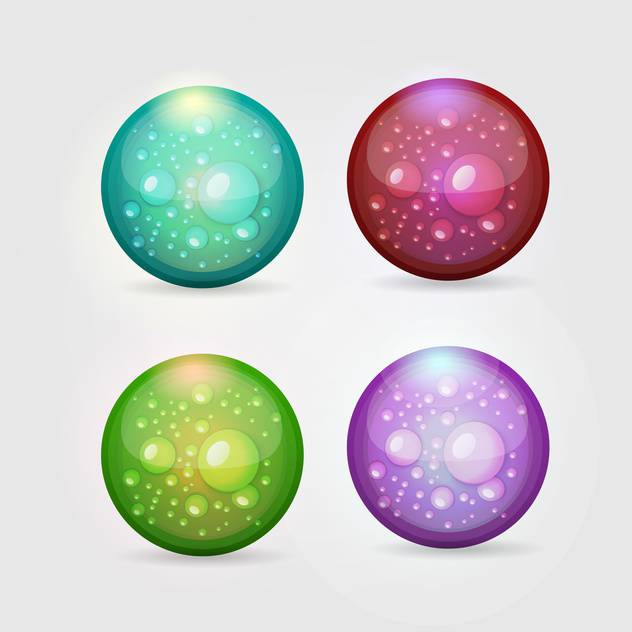 Vector set of colorful aqua buttons on gray background - vector gratuit #129716