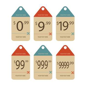 Vector set of vintage price labels isolated on white background - vector #129736 gratis