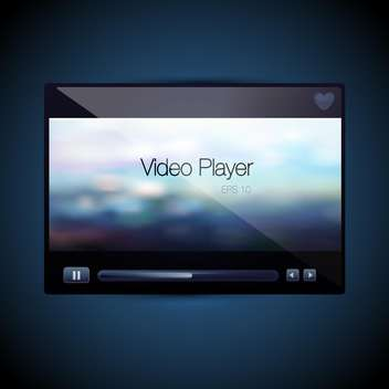 Vector video movie media player screen on blue background - бесплатный vector #129756