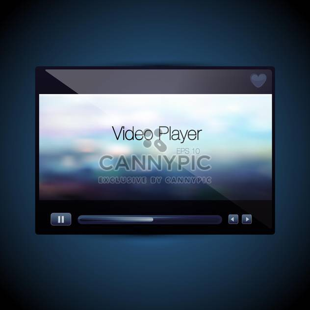 Vector video movie media player screen on blue background - Free vector #129756