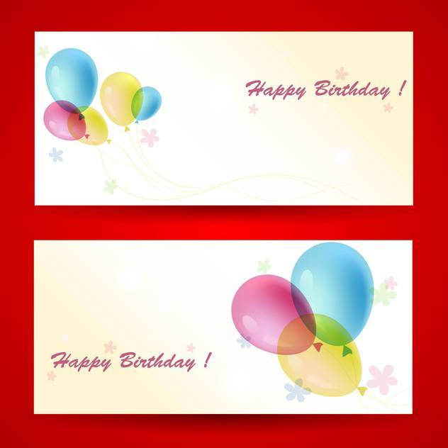 Birthday greeting cards with balloons on red background - vector #129766 gratis
