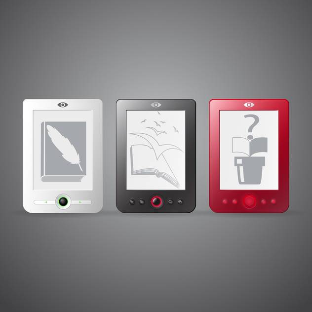 Vector set of three e-readers on gray background - бесплатный vector #129776