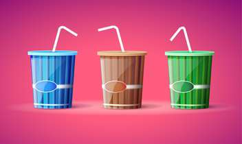 Vector illustration of three colorful plastic containers with straws on pink background - vector #129786 gratis