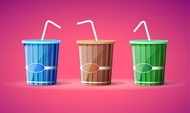 Vector illustration of three colorful plastic containers with straws on pink background - бесплатный vector #129786