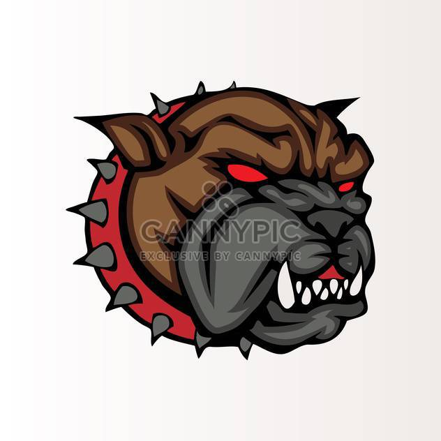 Vector illustration of bulldog head in collar with spikes - Free vector #129796