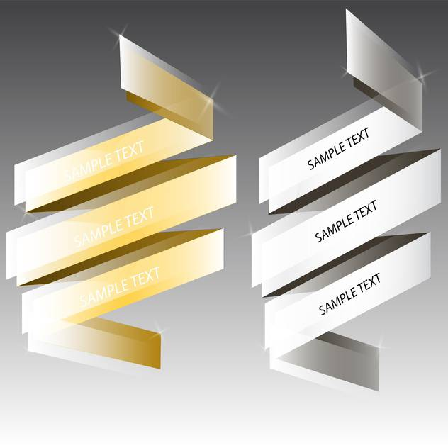 Vector silver and golden ribbons for text on gray background - Free vector #129816
