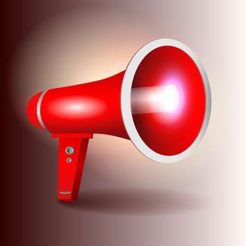 vector illustration of red megaphone on brown background - Free vector #129826