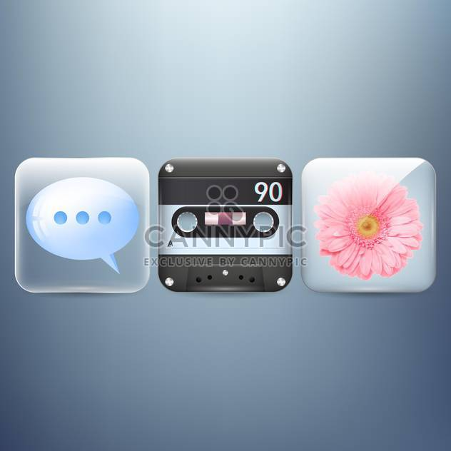 Vector icons set of flower, speech bubble and cassette on blue background - Free vector #129836