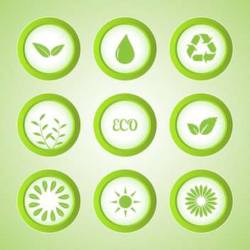 Vector set of green eco buttons - vector gratuit #129926