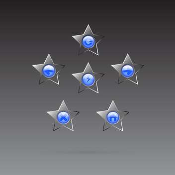 Vector glass star browser buttons set on dark background - vector #130026 gratis